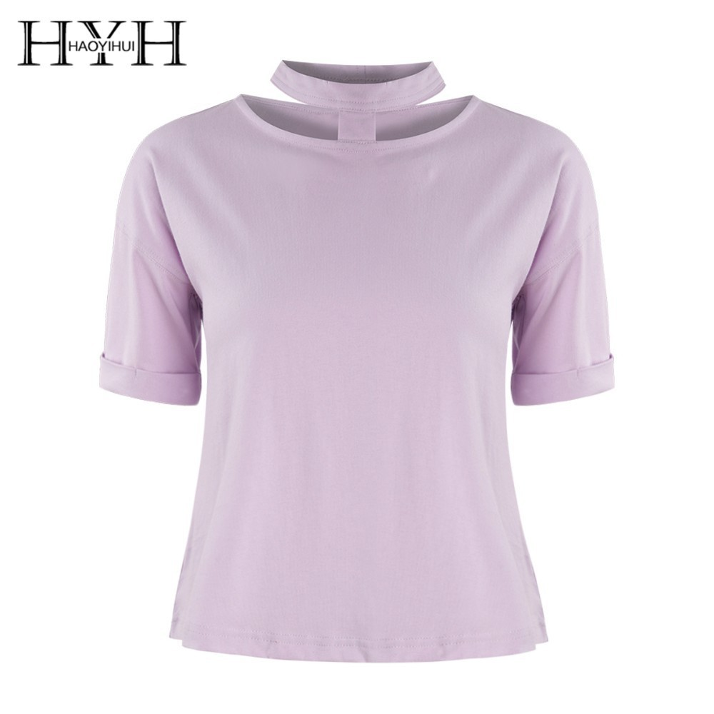 HYH HAOYIHUI 2019 Fashion Girl New Summer T shirt Neck Hollow Pink Cute Easy To Match in T Shirts from Women 39 s Clothing