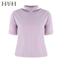 HYH HAOYIHUI 2019 Fashion Girl New Summer T-shirt Neck Hollow Pink Cute Easy To Match