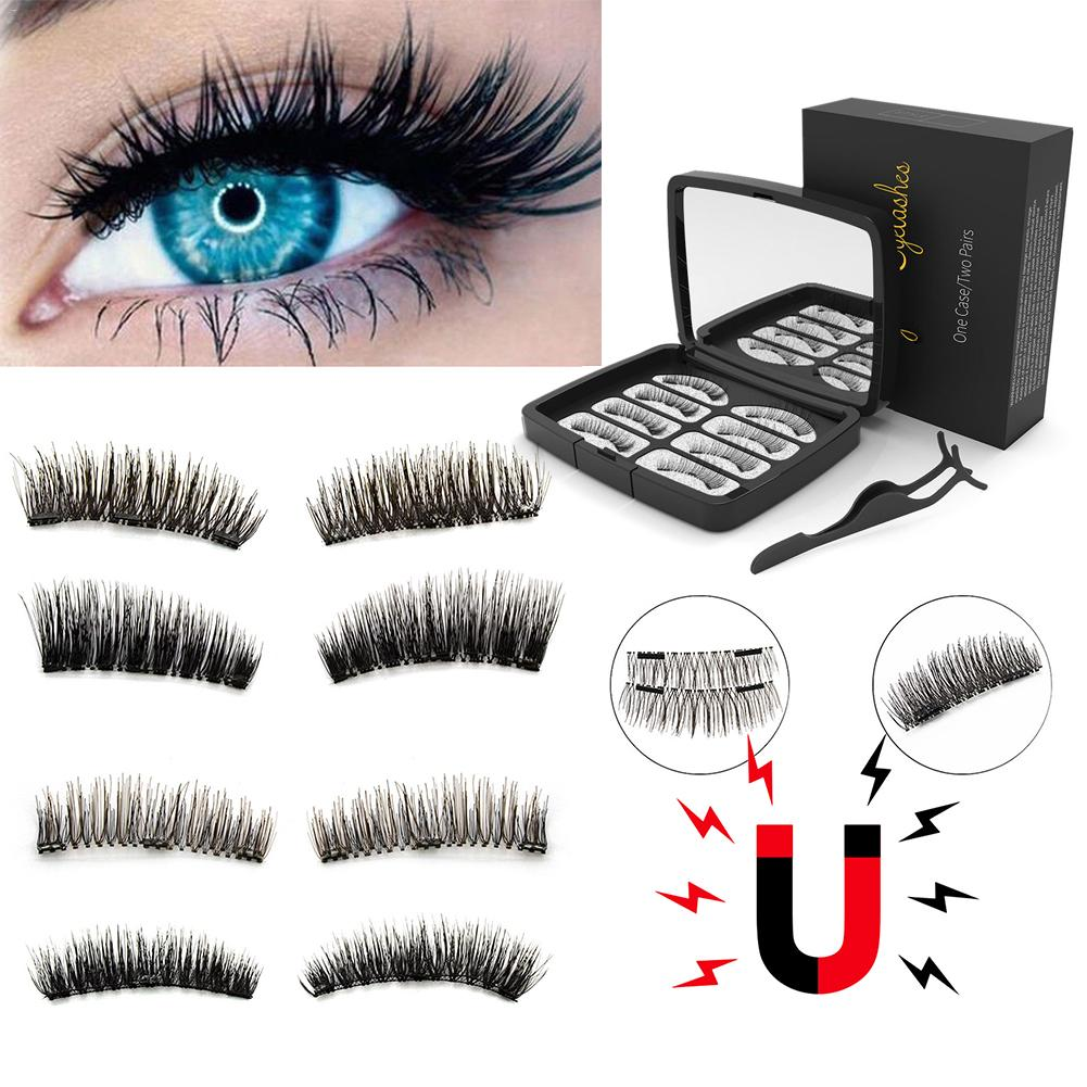8 pcs /2 pairs of eyelashes three magnetics false eyelashes 3D magnetic eyelash set with tweezers