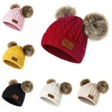 Evrfelan/зимняя шапка с помпонами для мальчиков и девочек; детские вязаные шапочки; шапка для детей; толстые теплые модные шапочки; шапка