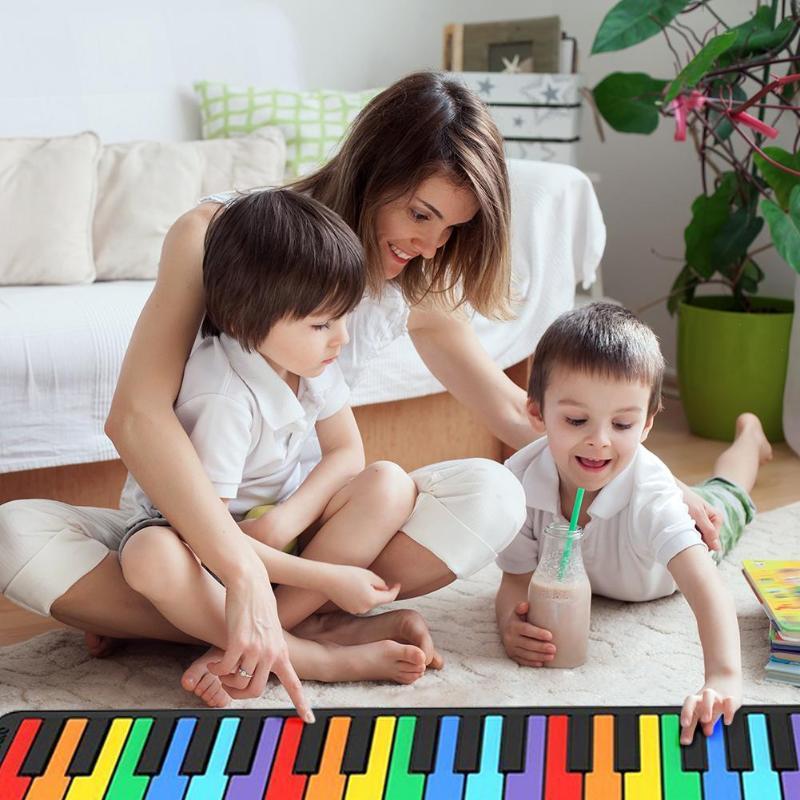 49 clés main rouleau clavier Portable souple Silicone pliable retrousser Piano pliable jouets éducatifs pour enfants