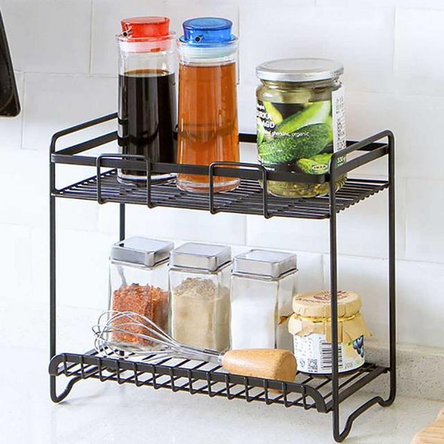 Us 15 26 25 Off 2019 Storage Rack Innovative Wrought Iron Paint E Condiment Kitchen Shelf Double Layers In Holders Racks From