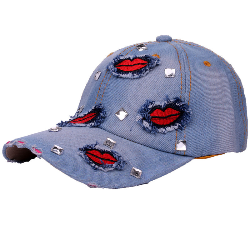 2018 Mode Denim Lip Patchwork Strass Baseball Kappen Für Frauen Männer Sonne Einstellbare Hysterese Kappen Sommer Ferien Hüte Unisex Novel (In) Design;
