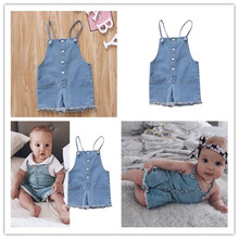 PUDCOCO Summer Newborn Kids Baby Girl Denim Tops Romper Jeans Jumpsuit Pants Outfits
