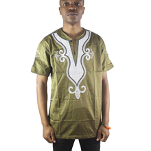 Africa Gold Lucky Lotus Embroidered Men`s Ethnic Tops Side Slit Short Sleeved Male`s Henley Shirts for Summer Wearing