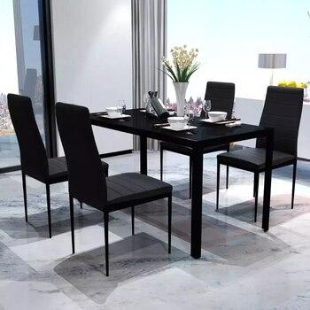 VidaXL negro cinco piezas mesa de comedor conjunto mesa de madera de ...