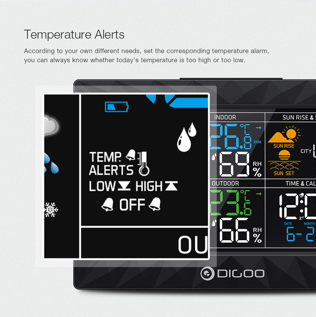 LCD Color Weather Station + Outdoor Remote Sensor Thermometer Humidity Snooze Clock Sunrise Sunset Calendar 4