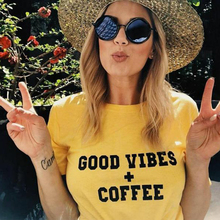 Good Vibes + Coffee Tshirt Women Yellow Tee Tumblr Grunge Summer T Shirt