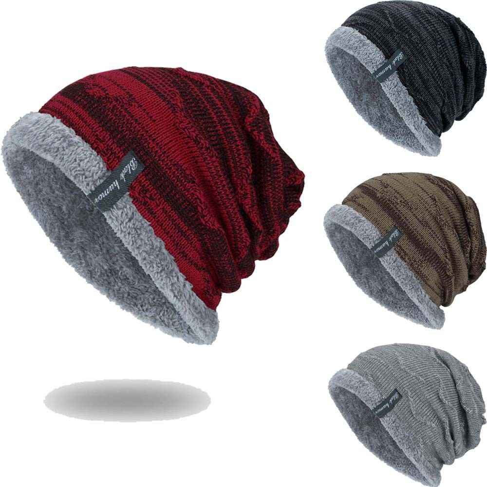 b2dcfb405 Men's winter hat fashion knitted black hats Fall Hat Thick and warm and  Bonnet Skullies Beanie Soft Knitted Beanies Cotton