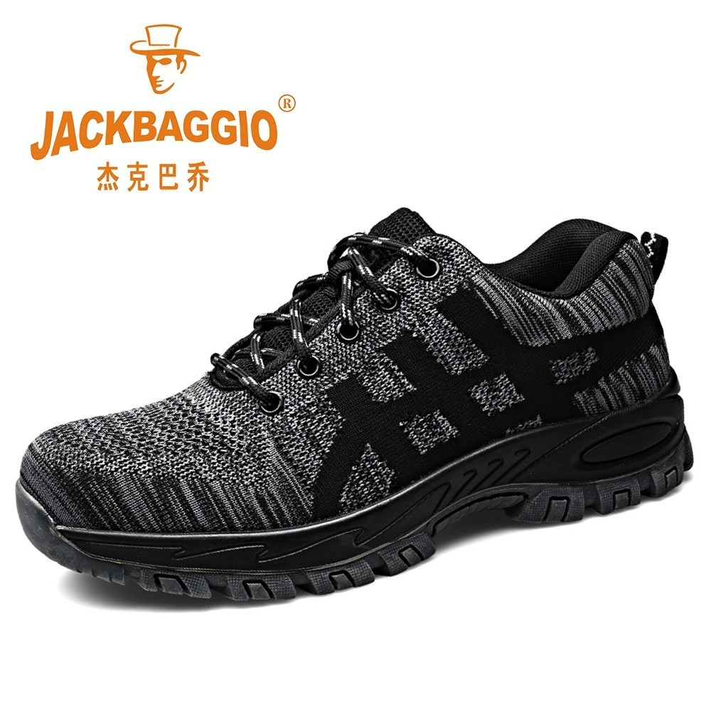 Men breathable safety work shoes black wear resistant rubber sole men boots anti smashing puncture proof