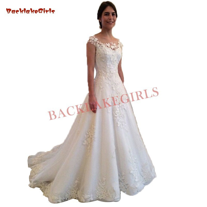 01ff382de627 A line Lace Flowers Tulle Elegant Long Formal Wedding Dresses 2019 Fashion Wedding  Gowns Custom Made ~ Perfect Deal July 2019