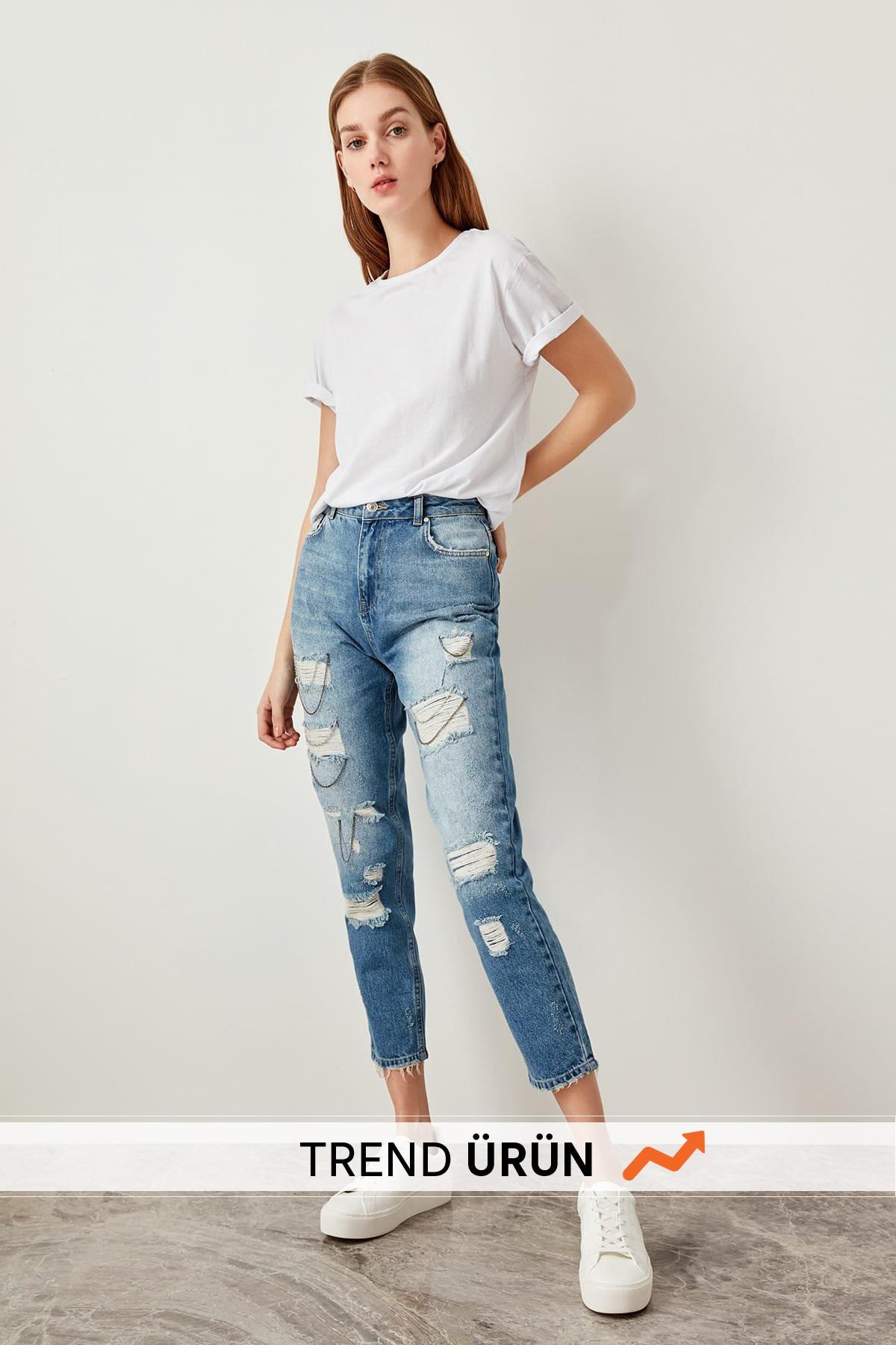 Trendyol Blue Chain Detailed High Waist Jeans Mom TCLSS19UG0003