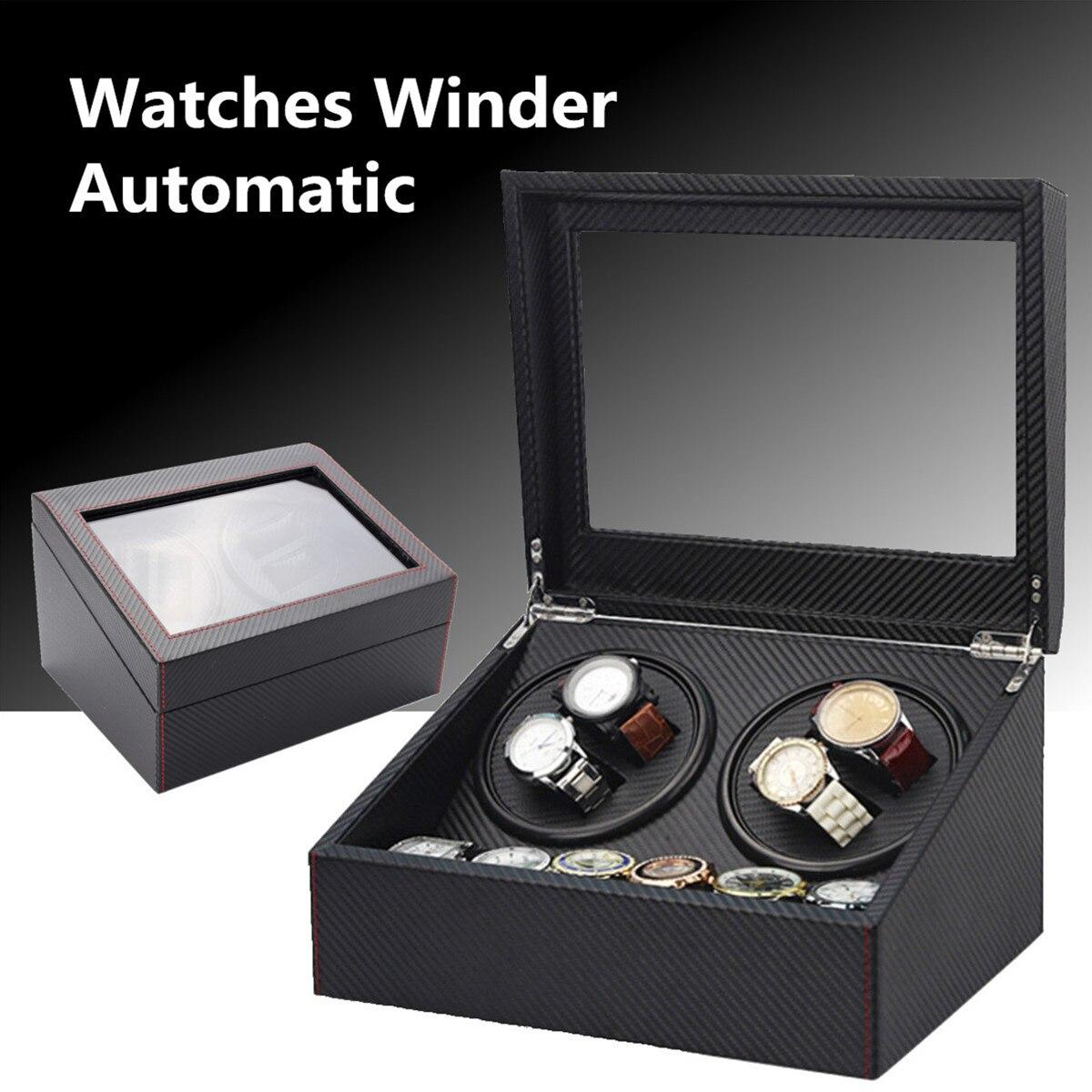 Черный 4 + 6 Автоматическая намотка часов деревянный двойной автоматический 2 двигателя чехол для хранения Коробка органайзер дисплей стойк