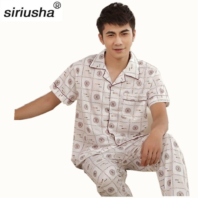 Pyjama Men Pijamas Hombre Suit Home Clothing Thermal Pajamas Sets Short-sleeve For European Size Loungewear Pijamas Lounge S93