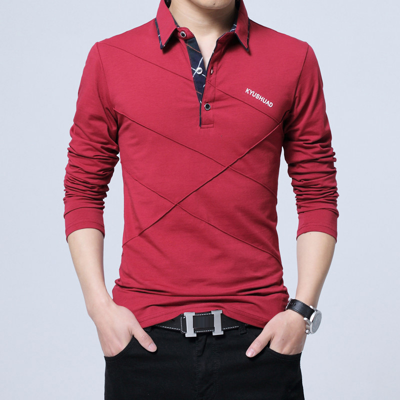 5XL Polo Shirt Collar Men Plus Size 3XL 4XL Autumn Button Brand Men Polo Shirt Long Sleeve Casual Male Shirt Dress Polo Shirts 5