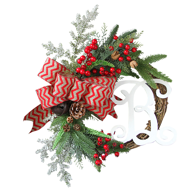 American Style Simulation Christmas Wreath Wall Hanging Garland ...
