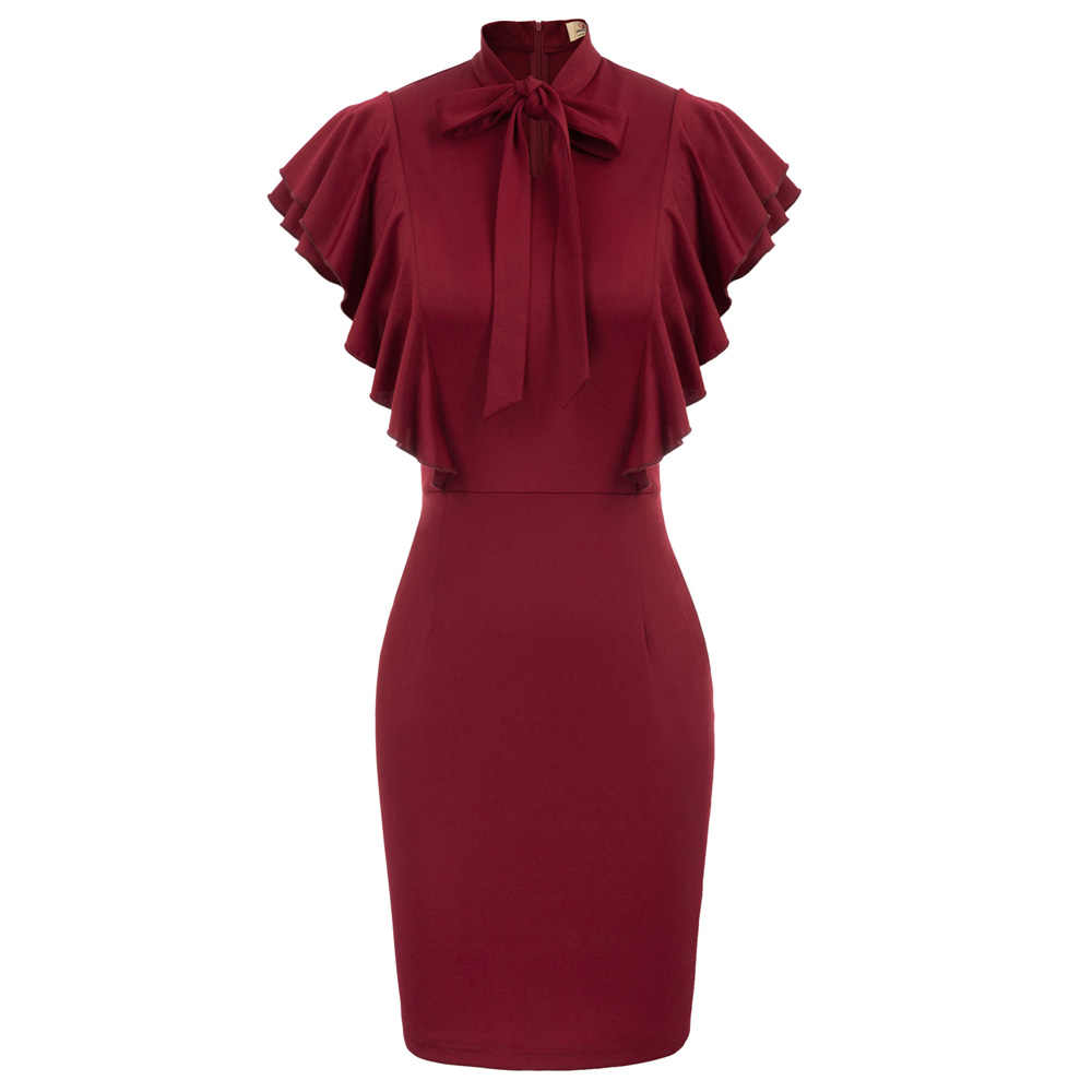 GK Ruffled Sleeves dress women chic classy Tie Neck Hips-Wrapped Bodycon  dresses office lady 038ca9119ca1