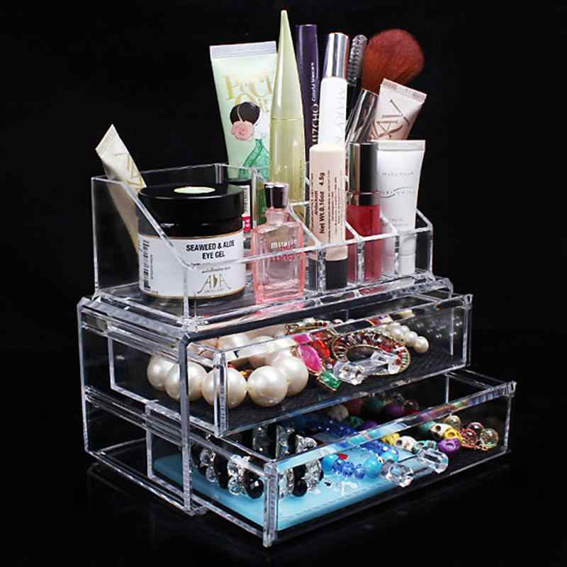 Portable Makeup Jewelry Acrylic Storage Box Make Up Transparent Cosmetic Organizer Storage Drawers Lipstick Gloss Holder