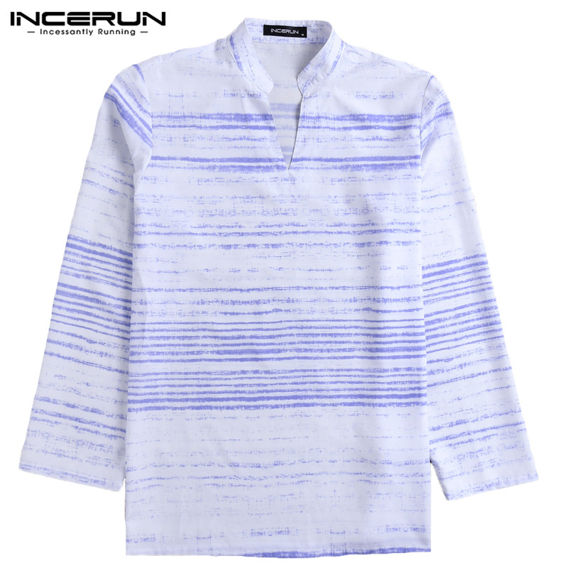 Vacation Tie Die Plain Mens Shirts Dress Long Sleeve V Neck Short Kurta Shirt Loose Fitness Casual Shirt Camisa Chemise Tops