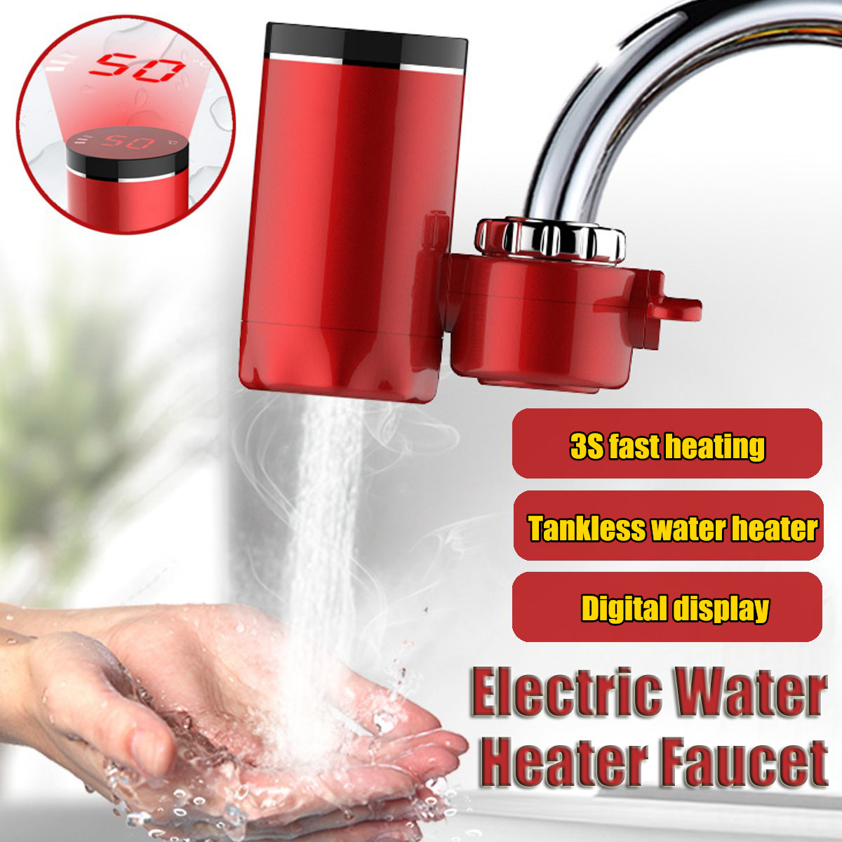 Electric Hot Faucet Water Heater Electric Tankless Water Heating Kitchen Faucet Digital Display Instant Water Tap 3000WElectric Hot Faucet Water Heater Electric Tankless Water Heating Kitchen Faucet Digital Display Instant Water Tap 3000W
