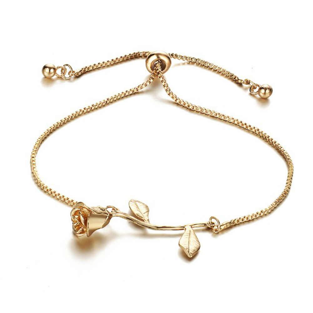 Świeży damski wisiorek kwiat róży łańcuszek Charm bransoletki kryształowe dekoracje różowe złoto srebro chirurgiczna stalowa bransoletka na prezenty