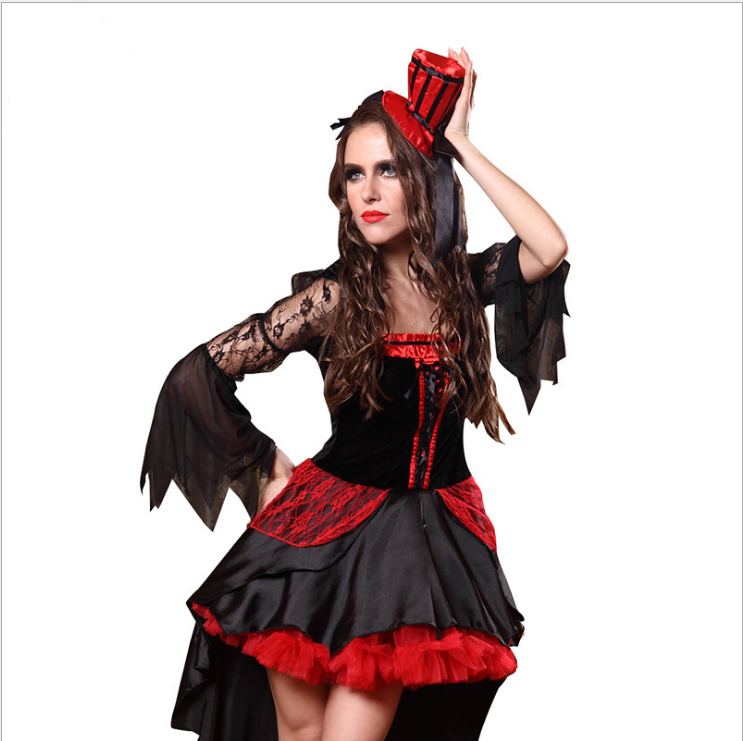<font><b>Halloween</b></font> <font><b>Sexy</b></font> Adult Women Vampire Costumes Red Black <font><b>Queen</b></font> Witch Cosplay Swallowtail Fancy Dress Carnival Christmas Party image