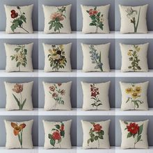 Vintage literary plant flower pillow home decorative pillows 45x45cm cotton linen fabric cozy seat back cushions for couch/bed(China)