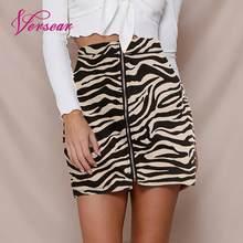 403dd3e217 Versear mujeres Sexy Mini falda de leopardo impreso cremallera corte Slim  2019 Bodycon Falda corta fiesta