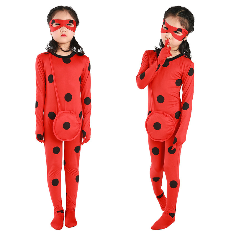 Ladybug Costume Girls Kids Miraculous Ladybug Cosplay For Child Women  Halloween Party Birthday Jumpsuit Clothing With Wig Bag e1f8bc3a7