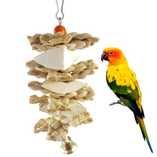 Bell Bird-Supplies Chew-Toys Swing Hanging-Cage Wooden Parrot Climb Natural Bite