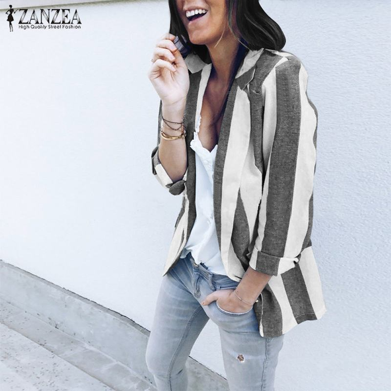 ZANZEA Women Blazer 2019 Autumn Winter Striped Elegant Blazers Suits Ladies Slim Blazer Feminino Americana Mujer Plus Size 5XL