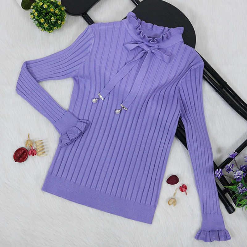 Новинка, женские джемперы, зимний женский свитер, бант, воротник с оборками, женские свитера с жемчугом, женский свитер, женские модные пуловеры, топы