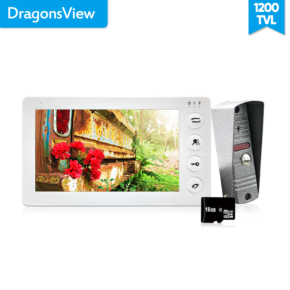 Dragonsview  White Video Intercom System Kit 7 Inch Door Monitor Video Door Phone Intercom 1200TVL Recording 16GB SD Card Talk(China)