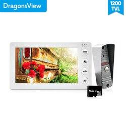 Kit de sistema de intercomunicador de vídeo blanco Dragonsview 7 pulgadas Monitor de puerta de vídeo intercomunicador de teléfono 1200TVL grabación tarjeta SD de 16GB hablar