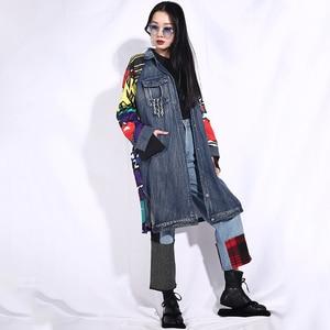 Image 2 - EAM veste jean à manches longues, nouvelle veste jean ample grande taille, manteau femme, à manches longues, à motif bleu, à la mode, printemps automne 2020