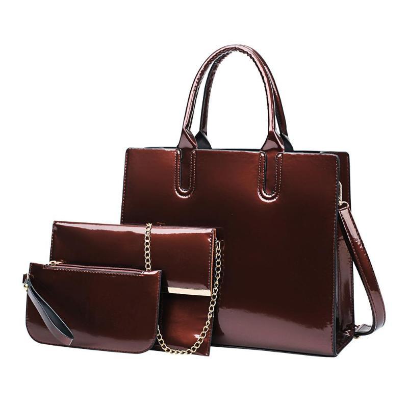 3pcs/set High Quality Patent Leather Women Handbag Shoulder Bags Crossbody Bag Clutch Feminina Luxury Brands Tote Bag