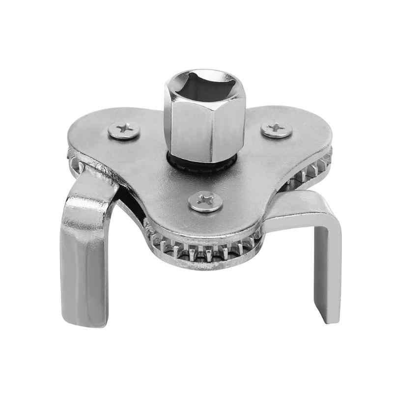 Llave de filtro de combustible de aceite de máquina de acero 45 # herramienta de eliminación de rejilla de aceite de mandíbula plana con Aa 2/1 a 3/8 llave de filtro ajustable