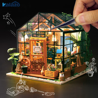 1pc Beautiful Wooden Doll House Green Garden Model DIY Material Package Kids Toys Gift Handmade Craft Supplies Home Decor