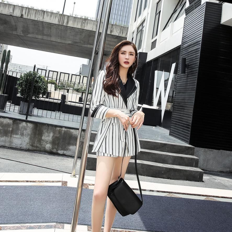 New Fashion Women's Wear In 2019 Striped Suit Shorts Suit Two-Piece Business Attire
