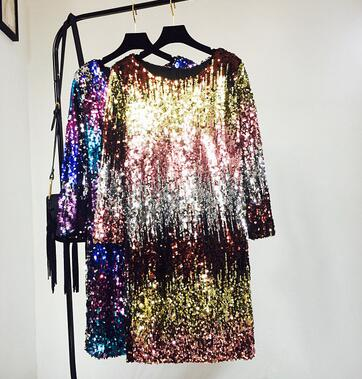 Detail Feedback Questions about 2018 New Spring Bling Sexy Club Dress  European American Heavy Beaded Gradient Color Paillette Dress 3 Color on ... 1e0edd05cd78