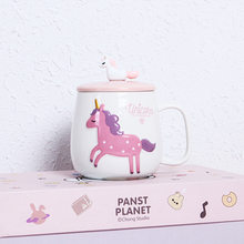 NoEnName_Null Originality Cartoon Lovely Unicorn Coffee Mug Thermo Cup Girl Heart Ceramics Student Cup And Glass Cups Drinkware(China)