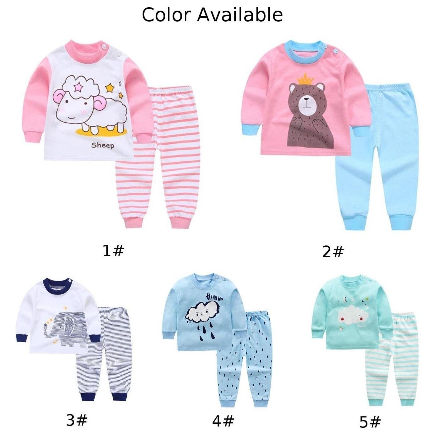 Детская одежда из 2 предметов для маленьких мальчиков и девочек, топ+ штаны, хлопковые пижамы для малышей, одежда для сна