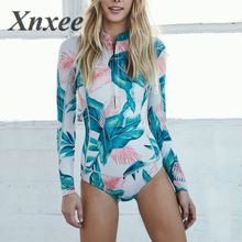 2019 Print Floral One Piece Swimsuit Long Sleeve Swimwear Women Bathing Suit Retro Vintage One-piece Surfing Swim Suits