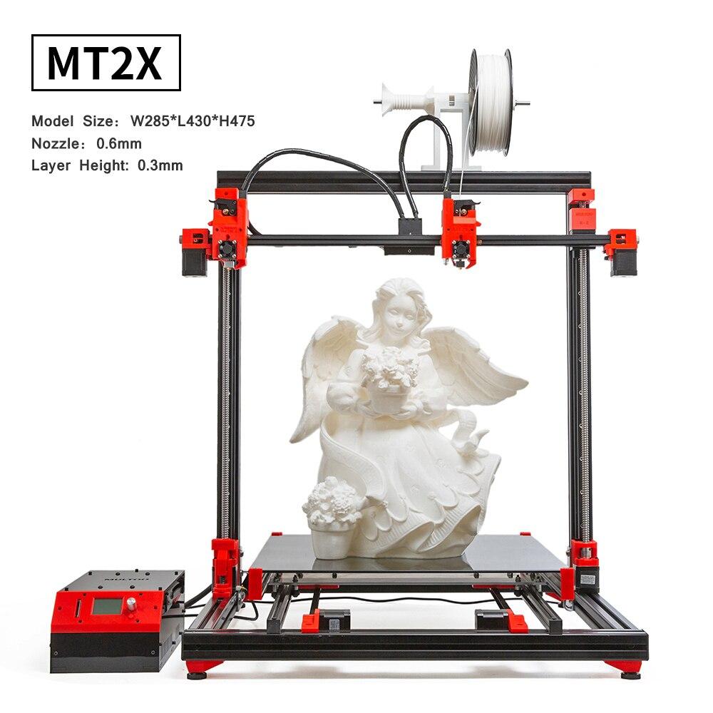 MULTOO 3D MT2X Della Stampante di Grande Formato di Stampa di Alta Qualità vite a Sfere di Precisione Più Precisa Singolo Dual 500*500*500 ad alta temperatura