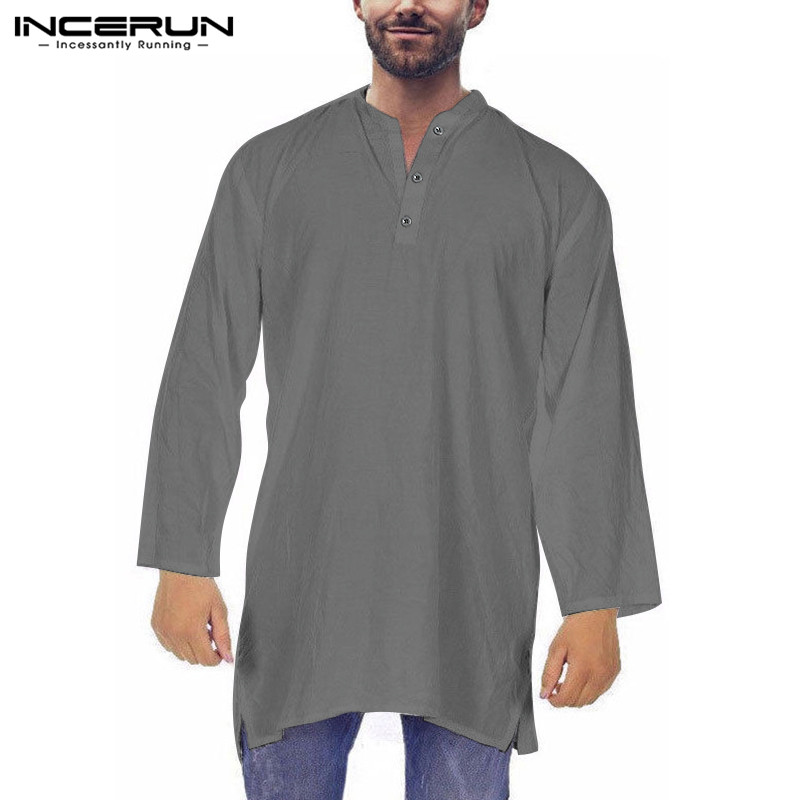 2019 Kurta Suits Men Shirts Long Sleeve Dress Robe Multi-Color Loose Baggy Pakistani Muslim Saudi Arab Indian Men Dress Clothes