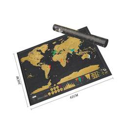 Черный роскошный Карта мира Скретч Карта путешествий карта Плакат Медь персонализированные журнал журнала Малый Размеры с цилиндрическая