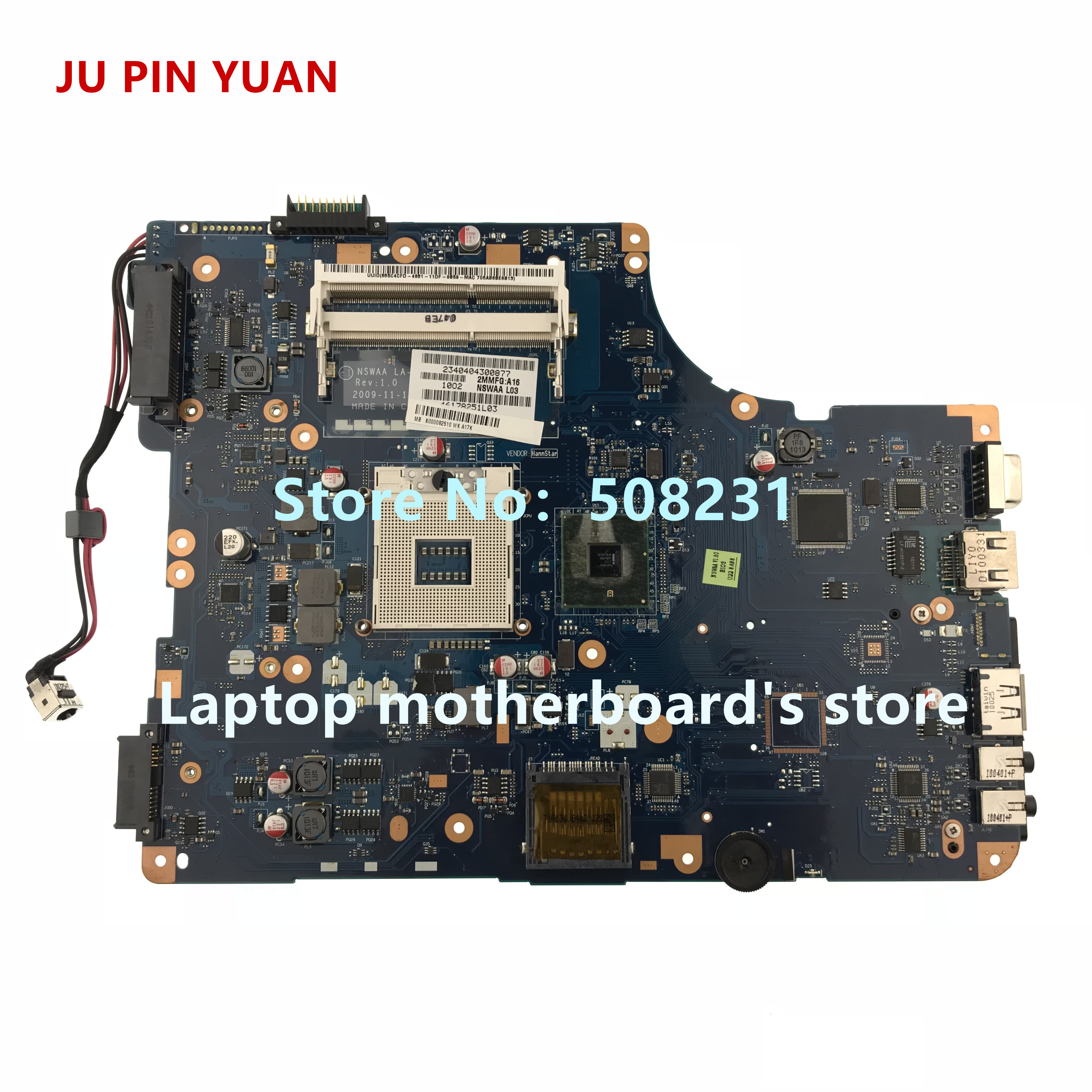 JU PIN YUAN K000092510 LA-5321P mainboard For <font><b>Toshiba</b></font> Satellite <font><b>L500</b></font> L550 Series laptop <font><b>motherboard</b></font> All functions fully Tested image