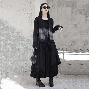 Image 4 - [Eem] 2020 yeni bahar sonbahar yuvarlak boyun uzun kollu siyah toka bölünmüş eklem gevşek uzun rüzgarlık kadın trençkot moda JR485
