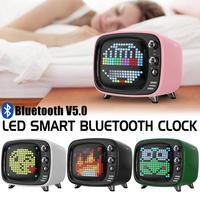 LED Clock Smart Bluetooth V5.0 Desktop Alarm Clock Retro TV Pixel Speaker Mini Portable Digital TF Card Slot 4 Color Selectable