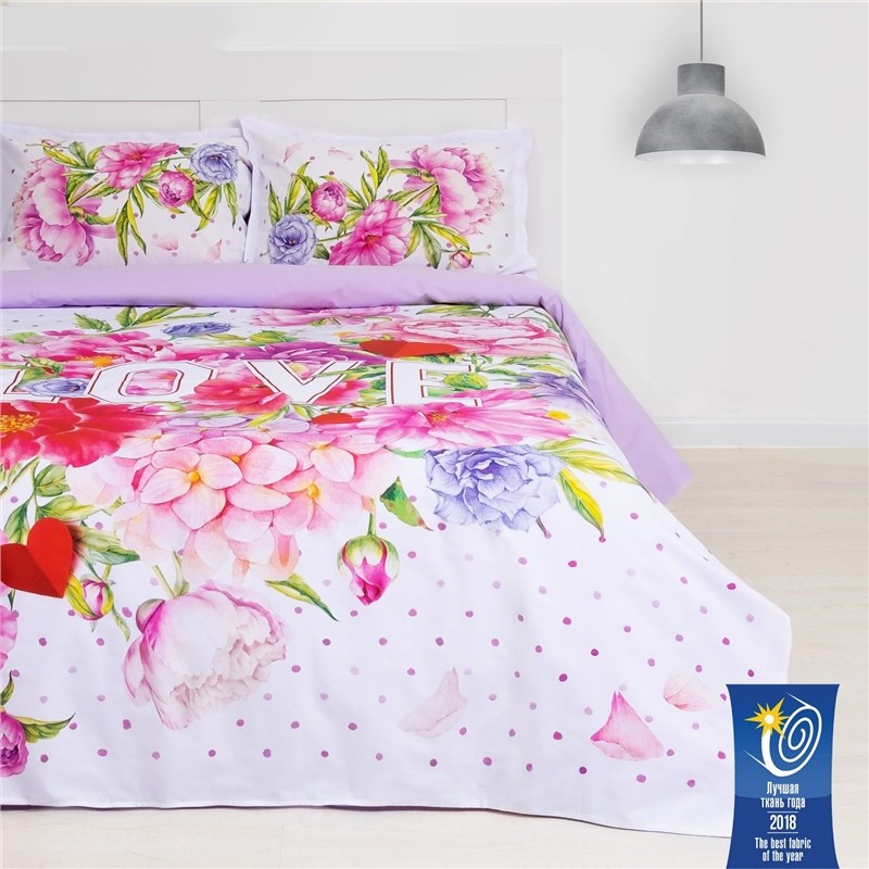 Bed Linen Ethel 1.5 CN LOVE 143х215 cm, 150х214 cm, 50х70 + 3-2 pcs ранфорс 111g/m2 fun